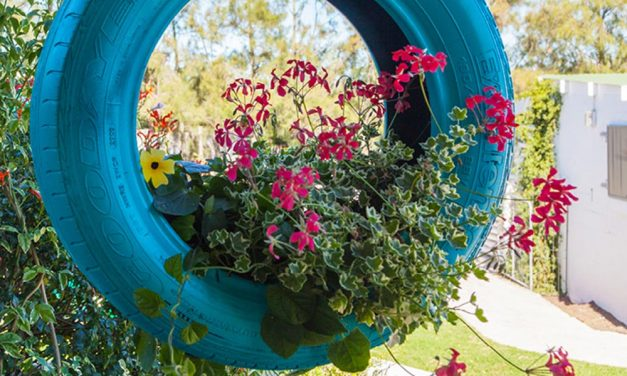 How to upcycle a car tyre into a hanging planter