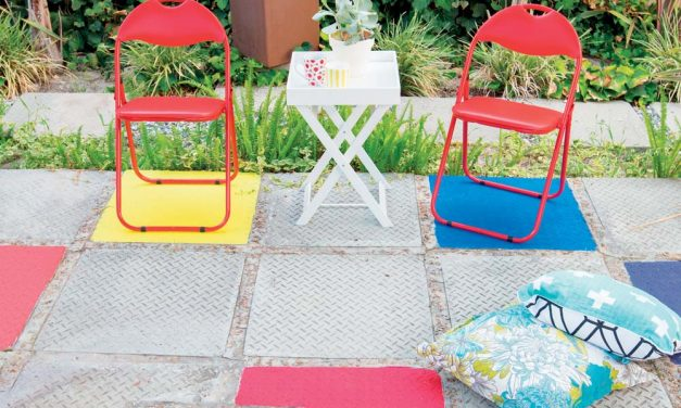 How to add bright colours to cement blocks on the patio
