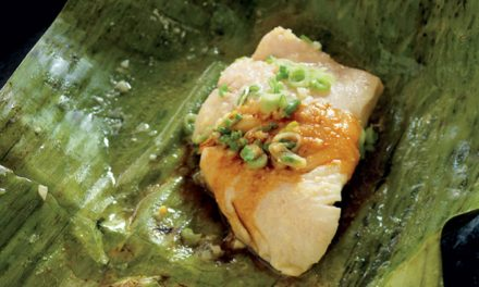 How to make ginger and miso line fish in banana leaves
