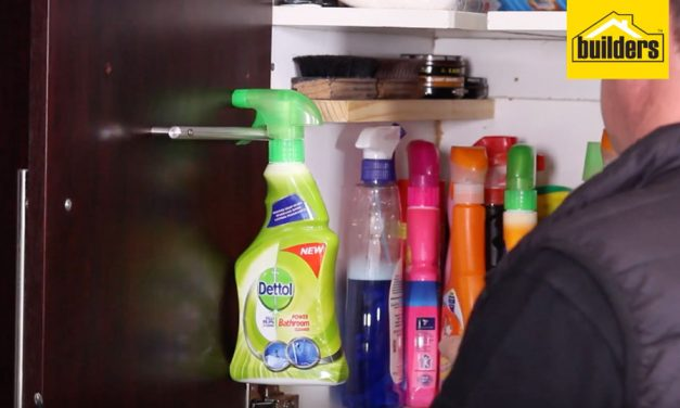 How to add a cupboard rail for cleaning spray bottles