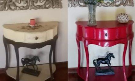 Julia Petersen re-paints a lounge semi-circle table