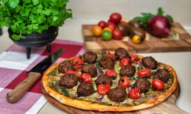 BBQ Lamb Meatball Pizza