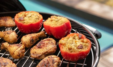 Spicy Moroccan Chicken with Saffron Couscous Stuffed Peppers
